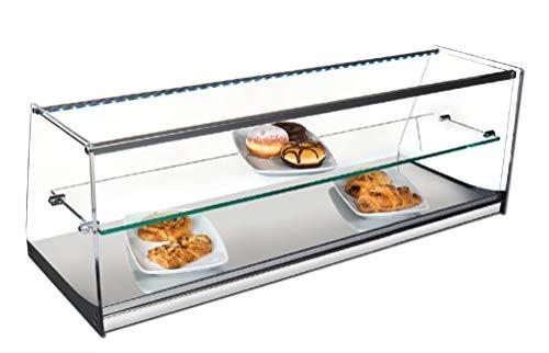 Vitrina expositora alimentos, ideal barra bar para los aperitivos, 2 pisos, cristal recto y iluminación LED