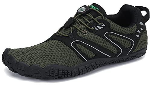 SAGUARO Hombre Mujer Minimalistas Zapatillas de Deporte Trail Running Calzado Caminar Cómodas Senderismo Ciclismo Ligeras Deportivas Andar Trekking Montaña Agua Exterior Interior(059 Verde, 43 EU)