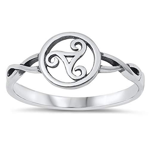 Celtic Triskele Trinity Ring New .925 Sterling Silver Band Size 7