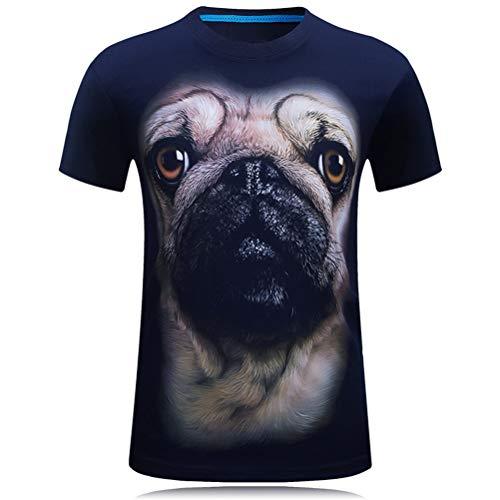 FZWAI Hondenkop 3D-print T-shirt met korte mouwen Premium T-shirt met korte mouwen Ronde hals T-shirt met korte mouwen Tops Tee Blouse