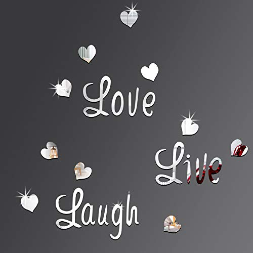 DIY Silver Love Live Laugh Heart Mirror Combination 3D Mirror Wall Stickers Home Decoration (Silver Love Live Laugh Heart)