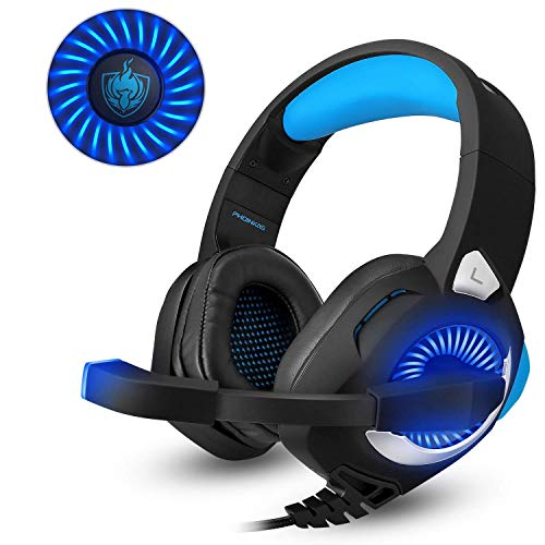 PHOINKAS H-9 RED,Gaming Headset für PS4 PC Xbox One Nintendo Switch Mac,LED Light Gaming Kopfhörer mit Mikrofon,Blau