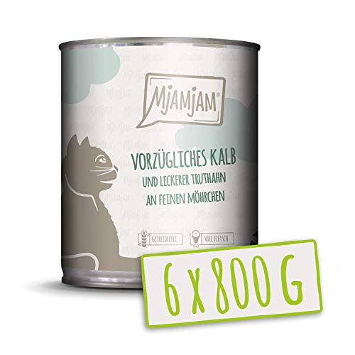MjAMjAM - Premium Nassfutter für Katzen - vorzügliches Kalb & Truthahn an leckeren Möhrchen, 6er Pack (6 x 800 g), getreidefrei mit extra viel Fleisch