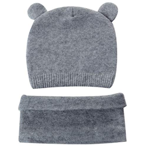 Winter Hoed Gebreid voor Kinderen Beanie Hoeden Sjaal Handgemaakte Haak voor Jongens Meisjes Fleece Liner Leuke Hoed voor Kinderen Houd Warm Grijs