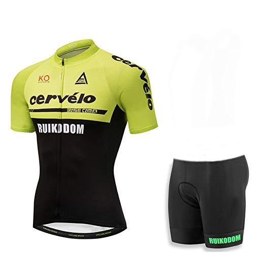 Men Cycling Jersey Bike Short Sleeves Suit Team Biking Clothing (Medium,F)