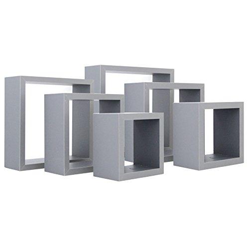 Harbour Housewares Mensola Quadrata a Scomparsa in Legno - Design a cubo - 3 Dimensioni Diverse - Grigio - 6 Pezzi