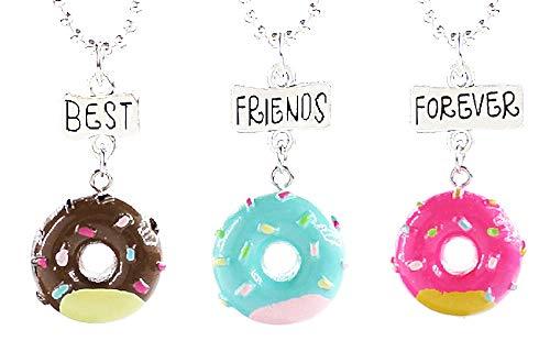 Drie meisjeskettingen - voor altijd - vriendschap - kawaii x 3 - beste vrienden voor altijd voor 3 - donuts - bff - veelkleurig - kerstmis - origineel cadeau-idee best friends forever