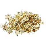 SM SunniMix 100 Piece Gold Star Head Split Pins Metal Brads Paper Fastener Decorative Brad for Scrapbooking DIY Craft Decoration