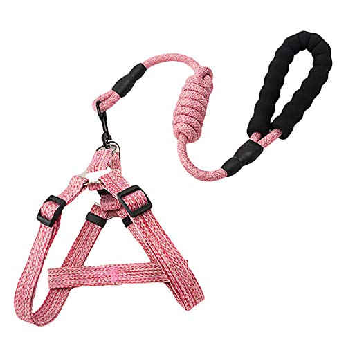 Fas Plus Dog Harness and Leash Set Adjustable Heavy Duty No Pull Puppy Pet Back Clip Halter Harnesses Anti-Twist Walking Rope Nylon Leashes for Large Medium Small Breed Dogs (Pink,S)