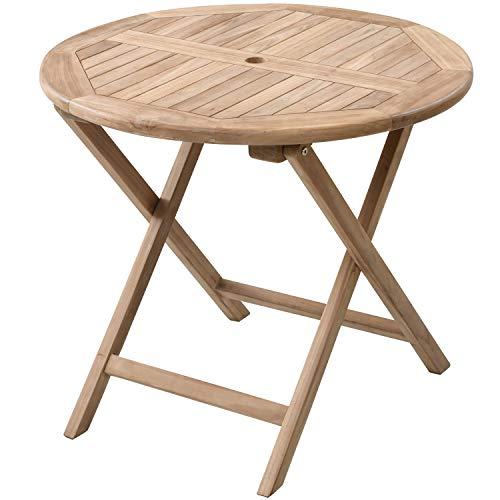 山善 ガーデンテーブル 折りたたみ チーク材 幅80cm 木製 天然木 IRT-80