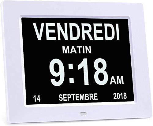 QJWLZ - Reloj de demencia, pérdida de memoria, reloj de día digital, con calendario de día extra grande sin acortar día y mes. Perfecto para personas mayores (blanco)