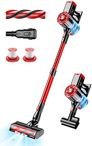 Cordless Vacuum Cleaner,OKP 220W Powerful Stick Vacuum,Detachable Battery,Lightweight,LED Headlights,4 in 1 Stick Vacuum Cleaner for Home Hard Floor Carpet Car Pet Hair