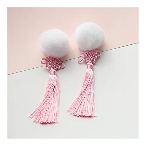 YUNGYE Kawaii Style Chinois Femmes Cheongsam Hanfu Cheveux Accessoires Cheveux Cosplay Balle Cheveux Clip Rose Tassel Clip Latéral 1 Paire (Color : White Hair Ball)