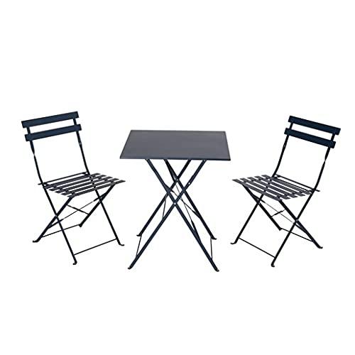 Tomaino Set da Pranzo sedie e Tavolo da Esterno Pieghevoli in Acciaio Verniciato (Azzurro)