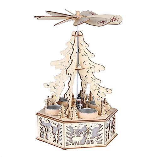 Benelando® Weihnachtspyramide aus Holz für 4 Teelichter mit zusätzlicher LED