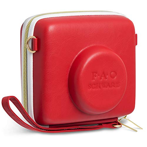 FAO Schwarz 1003435 Instant Camera Case in Red Synthetic Leather with Zipper Closure, Custom Fit Instant Camera, Includes Wrist Strap