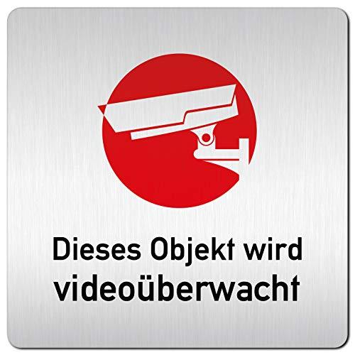 Kinekt3d Leitsysteme XXL Schild - Türschild • 125 x 125 mm • Dieses Objekt Wird Videoüberwacht – Achtung Videoüberwachung 001 • 1,5 mm Aluminium Vollmaterial • 100% Made in Germany