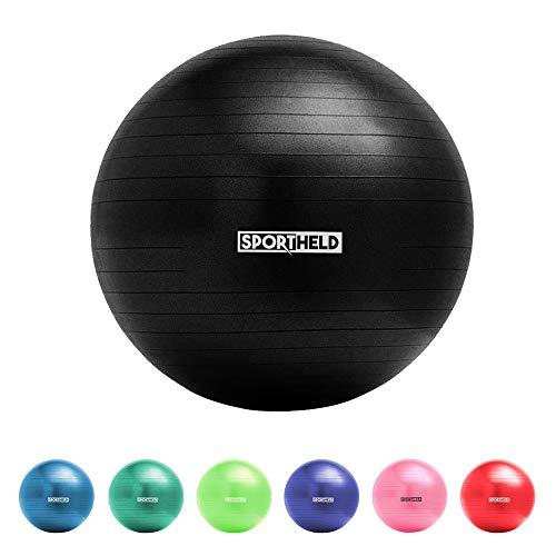 Sportheld® Profi Gymnastikball inkl. Fußpumpe zum Aufblasen   75cm Durchmesser   Schwarz   robuster Sitzball & Fitnessball