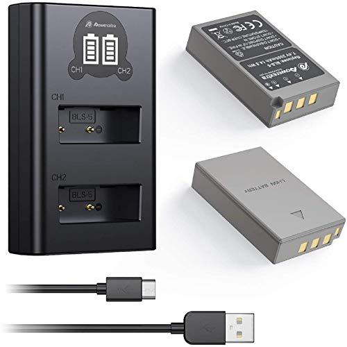 Powerextra Batería de Repuesto Olympus BLS-5 BLS-50 PS-BLS5 con Cargador Pantalla LCD para Olympus BLS-5 Olympus OM-D E-M10 Stylus 1 1s Pen E-PL2 E-PL3 E-PL5 E-PL6 E-PL7 E-PL8 E-PL9 E-P3 E-PM1 E-PM2