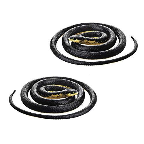 DE Realistic Rubber Black Mamba Snake Toy Garden Props 52 Inch Long,Set of 2