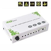 XOLORspace S102 4K60Hz HDR対応 HDMI分配器 1入力2出力4Kと1080Pの2つの解像度で同時出力|異なる解像度出力可能 ダウンスケール機能 オーディオEDIDセッティング HDCP2.2 HDMI2.0 スプリッター PS4pro/Xbox One/Fire tvなどに適用 ACアダプタ付き