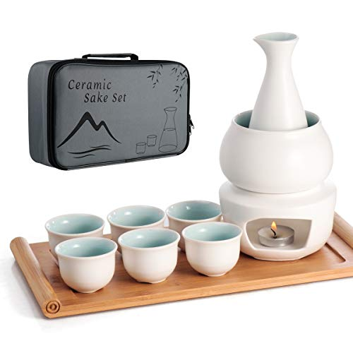 Keramik Sake Set Warmer Pot Bambus Tablett, Herd Safe Keramik Hot Saki Drink, 10 Stück Inklusive Herd Wärmeschale Sake Flaschen Tablett 6 Tasse + Sake Aufbewahrung Geschenkbox