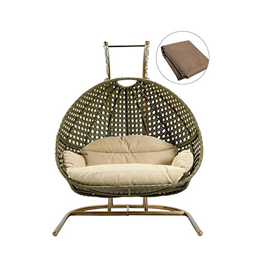 ZXGQF - Sillón colgante, mecedora Freestanding, movimiento oscilante relajante, suave cojín de poliéster, para interiores y exteriores