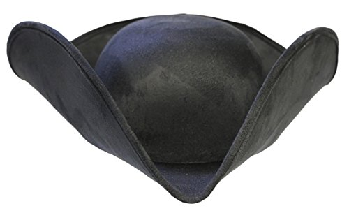 Costume Accessory Unisex Adult Faux Suede Tricorne Colonial Hat (Black),One Size