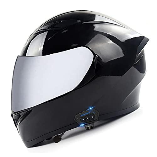 RMBDD Casco Moto Modular Bluetooth Integrado Cascos Flip Up Motocicleta Dot/ECER 22-05 Aprobado con HD Bluetooth Incorporado ABS para Unisex Casco con Bluetooth Moto (57~63CM)