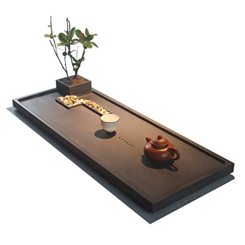 Check Out This XCJJ Black Stone Tea Tray Rectangular Tea Tray Drainage Tea Table Chinese Kungfu Tea ...