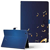 HUAWEI MediaPad M3 Huawei ファーウェイ メディアパッド タブレット 手帳型 タブレットケース タブレットカバー カバー レザー ケース 手帳タイプ フリップ ダイアリー 二つ折り その他 クール ユニーク 音楽 音符 青 m3-003384-tb