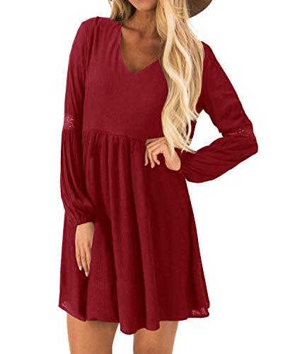YOINS Kleider Damen Sommerkleid für Damen Brautkleid Tshirt Kleid Rundhals Langarm Minikleid Winterkleid Langes Shirt Lose Tunika Baumwolle-rot EU36-38