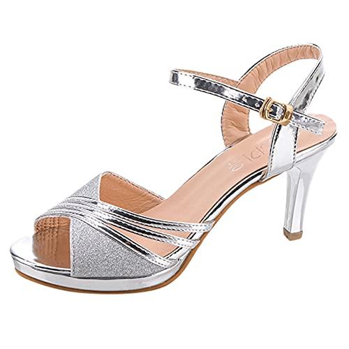 scarpe donna estivi zeppa espadrillas donna basse scarpe aperte donna scarp con tacco sandali infradito eleganti donna sandali platform (Silver, 39)