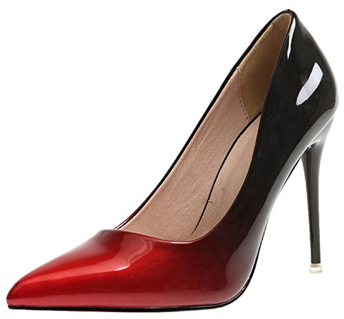 BIGTREE Damen Hochzeit Pumps Gradients High Heels Schuhe Rot Stiletto Kleid Pumps 42 EU