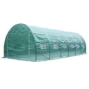 Outsunny Invernadero de Jardín Huerto Tipo Túnel 12 Ventanas Cultivos Plantas y Verduras Cubierta PE 140g/㎡ Impermeable 6x3x2m Acero
