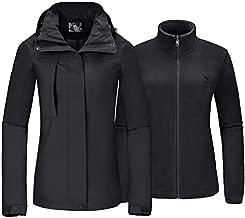 Women's Ski Jacket for Winter 3 in 1 Waterproof Windproof Snow Hooded Jacket with Warm Fleece Liner Jacket(Black,M)