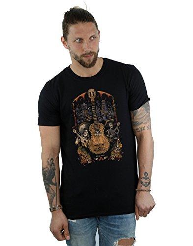 Disney Hombre Coco Guitar Poster Camiseta Small Negro