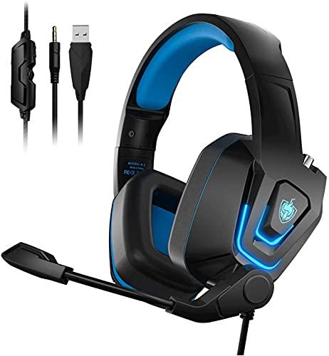 Auriculares PS4, PHOINIKAS Cascos Gaming con Micrófono, 3D Sonido y Reducción de Ruido, Diadema Ajustable, Control de Volumen, Silencio de una Tecla, Auriculares Xbox One, Switch, Mac, PC, LED - Azul