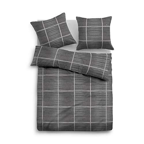 TOM TAILOR Flanell Wendebettwäsche 09877-805 1 Bettbezug 135x200 cm + 1 Kissenbezug 80x80 cm
