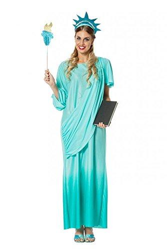 Deluxe Damen Kostüm Freiheitsstatue Kleid mit Schärpe Kopfschmuck Fackel Statue Of Liberty, Größe:42 , Farbe:-Türkis