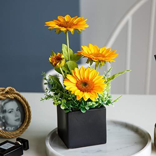 NAWEIDA Girasoles artificiales con jarrones de cerámica falsos arreglos de flores decoraciones para el hogar, la cocina u oficina