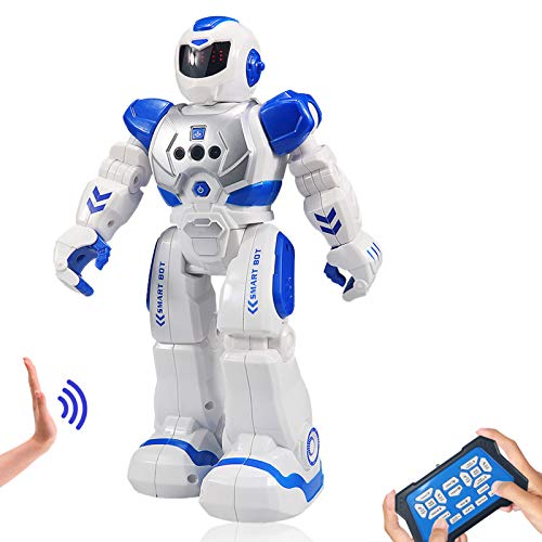Suliper Remote Control Robot for Kids,Intellectual Gesture Sensor Programmable Robot with Infrared Controller Early Education Robot Toys can Dance Sing Walk Robot Kits for Children (Blue/White)