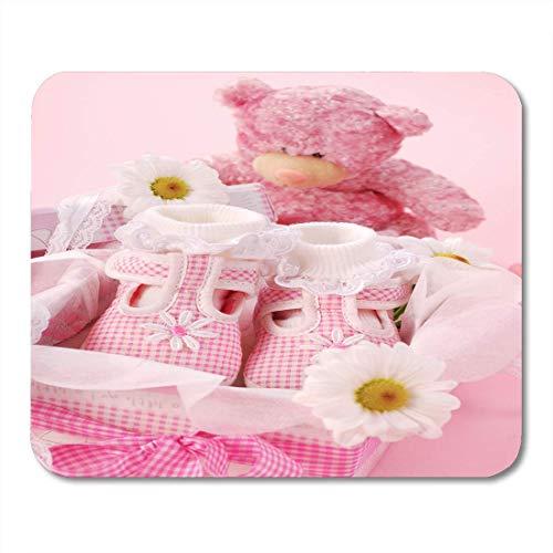 Mauspads Teddy White Shower Pink Babyschuhe für kleine Mädchen in Box Bear Flower Mouse Pad für Notebooks, Desktop-Computer Mausmatten, Büromaterial