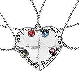 Hoveey Lot de 4colliers d'amitié en alliage avec pendentif portant l'inscription en anglais «...