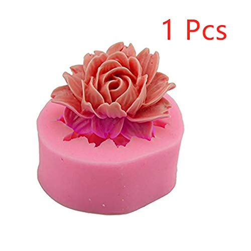 Efaster Silicone 3D Flower fondant Cake Chocolate Mold, Love DIY Home Flower Shape Fondant Sugar Craft Mold,Cookie Baking Cake Mould Modelling Decoration Tool (Pink x1)