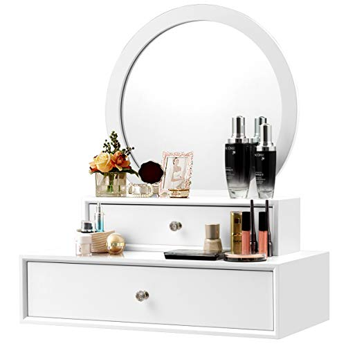 CHARMAID 2-in-1 Vanity Mirror with 2 Removable Drawers, Vanity Mirror Wall Mount or Placed on Table Top, Floating Vanity Shelf with Drawers, Bathroom Vanity Over Sink, Modern Bathroom Vanity