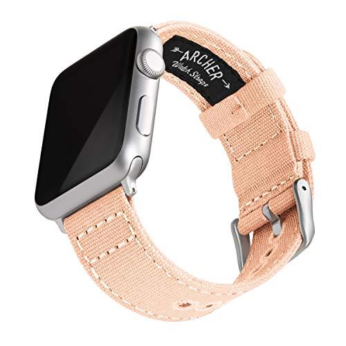 Archer Watch Straps | Correas Reloj Lona para Apple Watch | para Hombre y Mujer (Coral Pálido, Plata, 42/44mm)