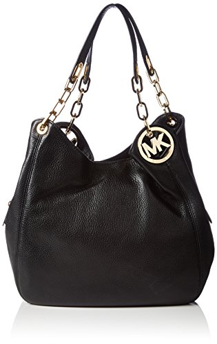 """Interior features side snap compartments and middle zip compartment with 4 slip pockets and key ho Michael Kors bag Logo medallion detail; chain-link accenting at straps; gold-tone hardware; top zip and snap closure Venus leather 13-1/4"""" W x 9-1/2' H..."""