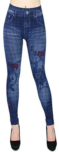 dy_mode Leggings Damen High Waist Hose Jeans Optik Jeggings ideal für Frühjahr Sommer - OneSize Gr.36-42 - JL068 (JL0069-OneSize Gr.36-40)