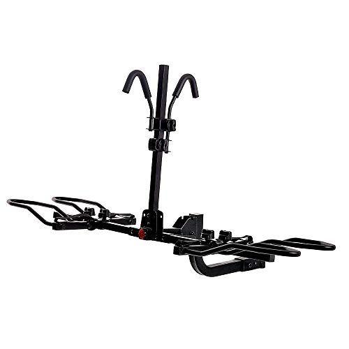 "KAC Overdrive Sports K2 2"" Hitch Mounted Rack 2-Bike Platform Style Carrier for Standard, Fat Tire, and Electric Bicycles – 60 lbs/Bike Heavy Weight Capacity – Smart Tilting – RV Use Prohibited"